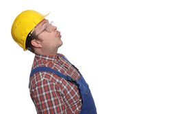 Staunender Bauarbeiter
