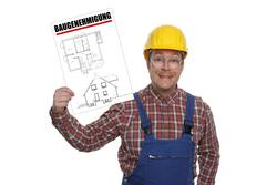 Bauarbeiter mit Baugenehmigung
